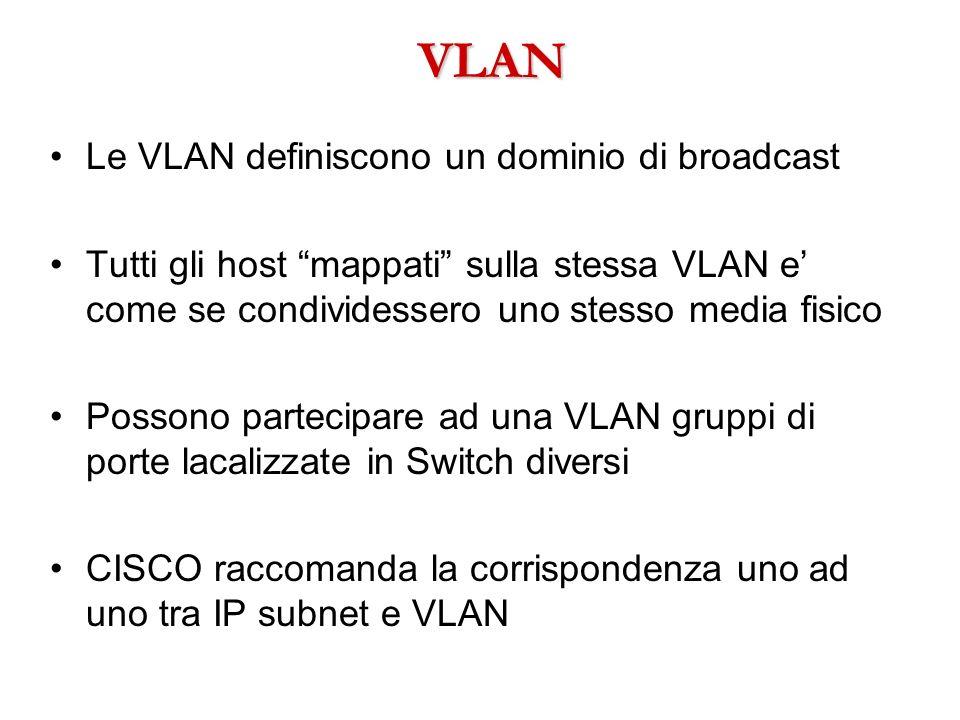 VLAN Le VLAN definiscono un dominio di broadcast Tutti gli host mappati sulla stessa VLAN e come se condividessero uno stesso media fisico Possono par