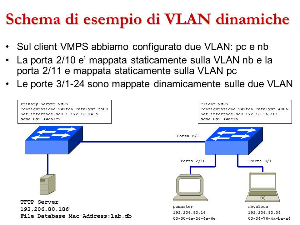 Schema di esempio di VLAN dinamiche Sul client VMPS abbiamo configurato due VLAN: pc e nb La porta 2/10 e mappata staticamente sulla VLAN nb e la port