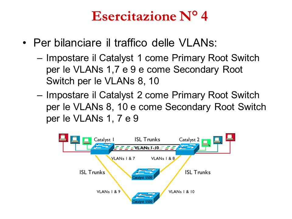 Esercitazione N° 4 Per bilanciare il traffico delle VLANs: –Impostare il Catalyst 1 come Primary Root Switch per le VLANs 1,7 e 9 e come Secondary Roo