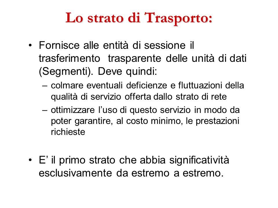 Lo strato di Trasporto: Fornisce alle entità di sessione il trasferimento trasparente delle unità di dati (Segmenti). Deve quindi: –colmare eventuali