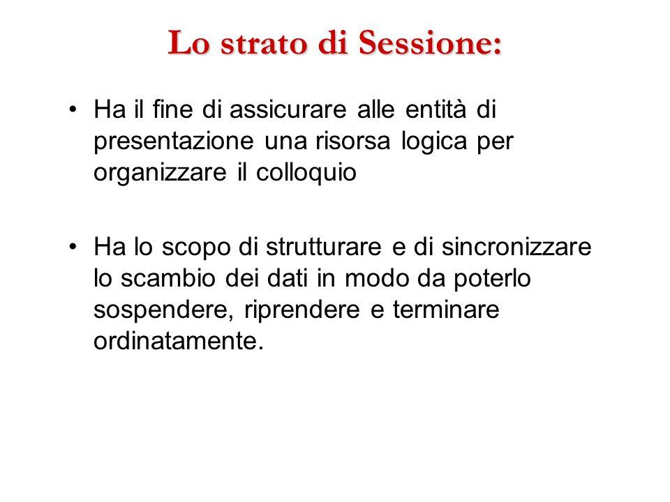 Lo strato di Sessione: Ha il fine di assicurare alle entità di presentazione una risorsa logica per organizzare il colloquio Ha lo scopo di strutturar