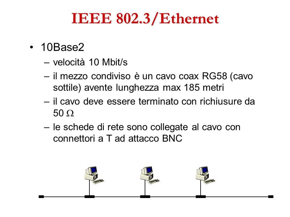 IEEE 802.3/Ethernet 10Base2 –velocità 10 Mbit/s –il mezzo condiviso è un cavo coax RG58 (cavo sottile) avente lunghezza max 185 metri –il cavo deve es