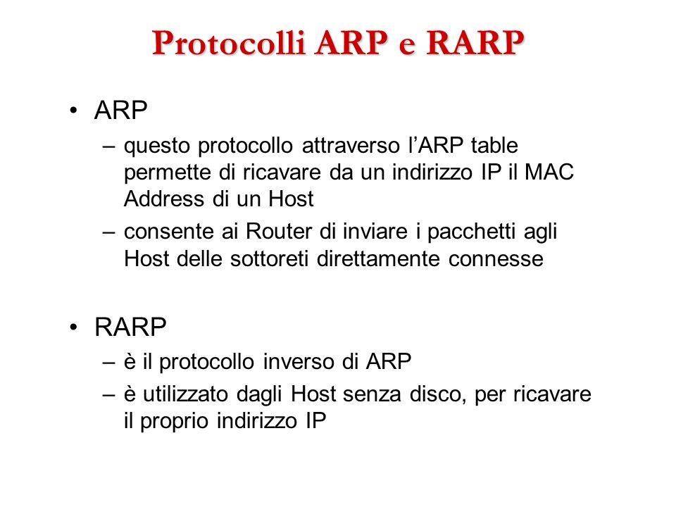 Protocolli ARP e RARP ARP –questo protocollo attraverso lARP table permette di ricavare da un indirizzo IP il MAC Address di un Host –consente ai Rout