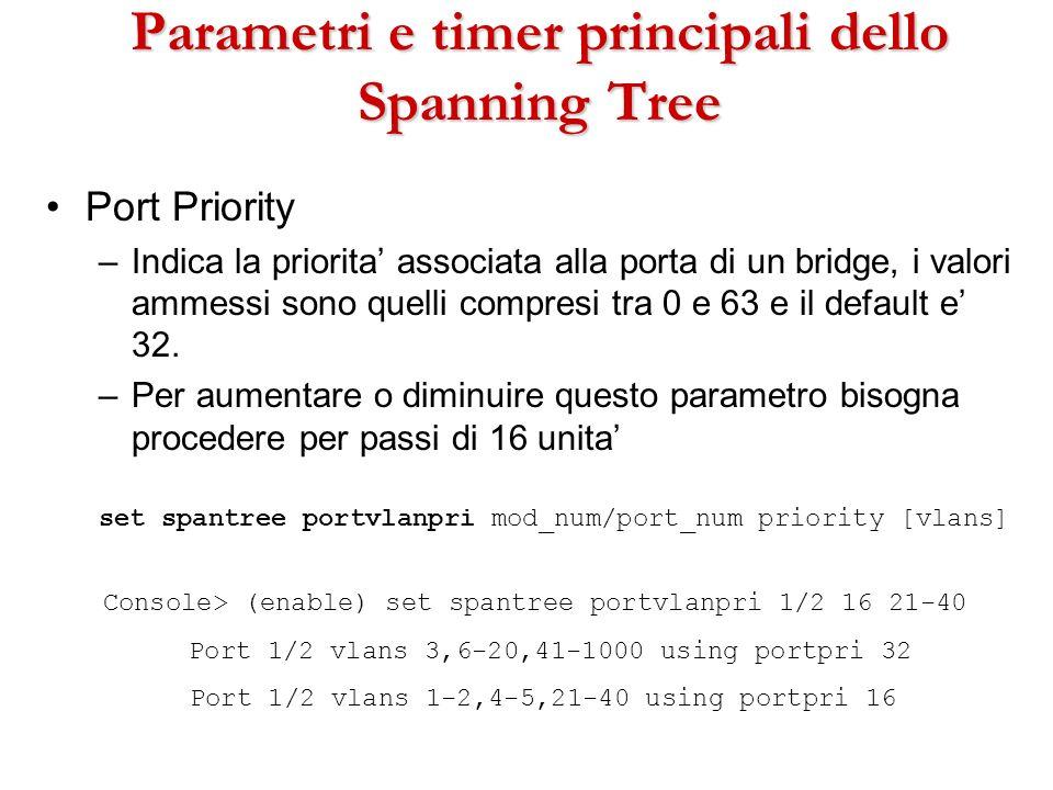 Parametri e timer principali dello Spanning Tree Port Priority –Indica la priorita associata alla porta di un bridge, i valori ammessi sono quelli com