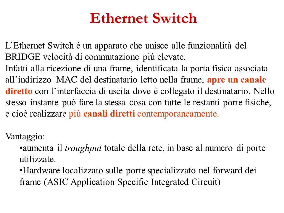 LEthernet Switch è un apparato che unisce alle funzionalità del BRIDGE velocità di commutazione più elevate. Infatti alla ricezione di una frame, iden