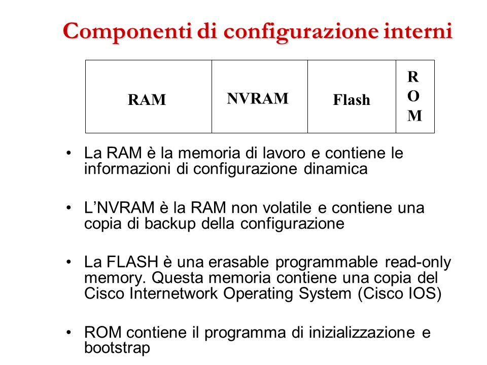 Componenti di configurazione interni La RAM è la memoria di lavoro e contiene le informazioni di configurazione dinamica LNVRAM è la RAM non volatile