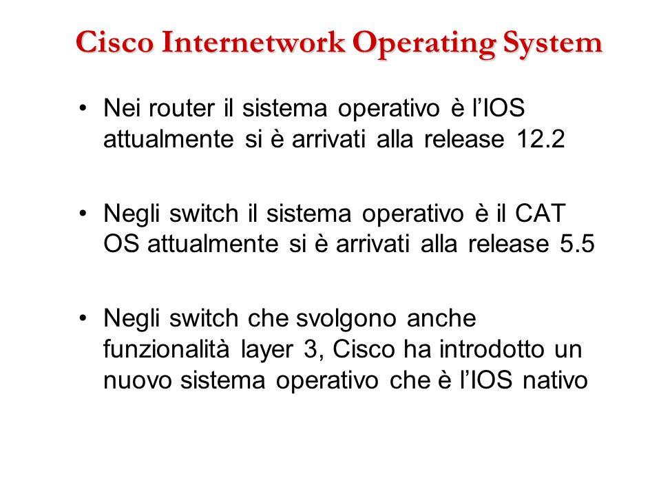 Cisco Internetwork Operating System Nei router il sistema operativo è lIOS attualmente si è arrivati alla release 12.2 Negli switch il sistema operati