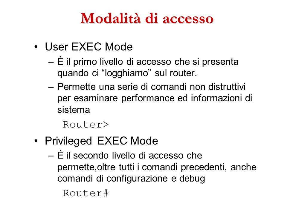 Modalità di accesso User EXEC Mode –È il primo livello di accesso che si presenta quando ci logghiamo sul router. –Permette una serie di comandi non d