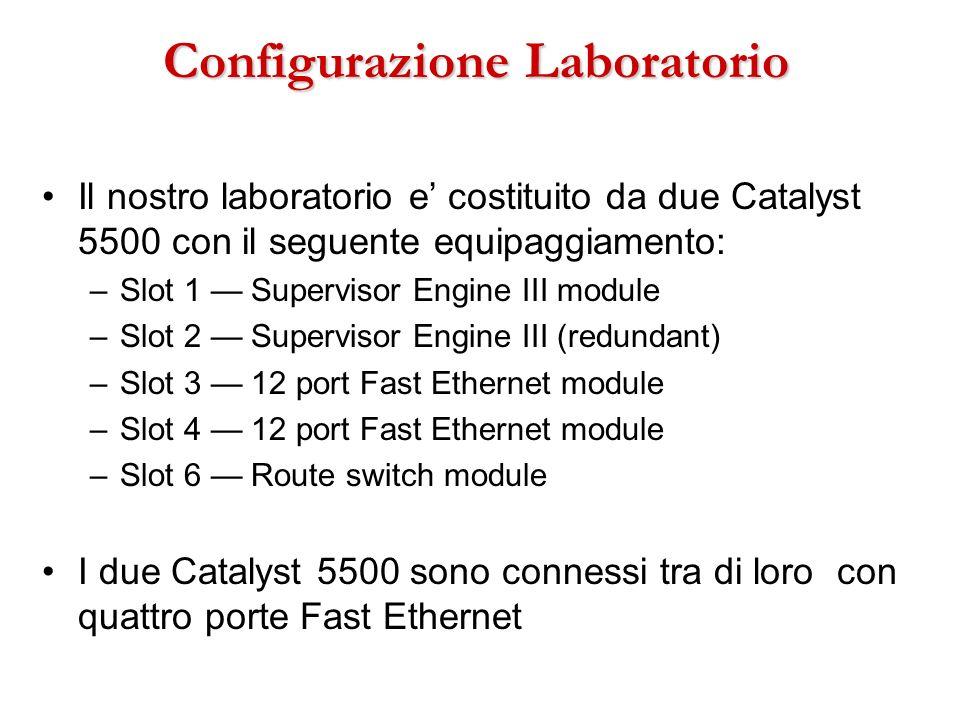 Configurazione Laboratorio Il nostro laboratorio e costituito da due Catalyst 5500 con il seguente equipaggiamento: –Slot 1 Supervisor Engine III modu