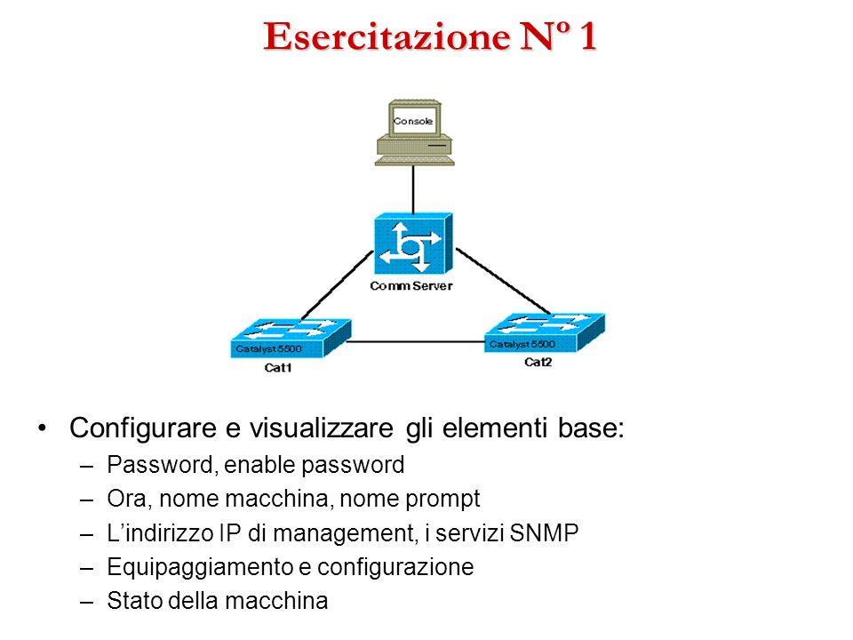 Esercitazione Nº 1 Configurare e visualizzare gli elementi base: –Password, enable password –Ora, nome macchina, nome prompt –Lindirizzo IP di managem