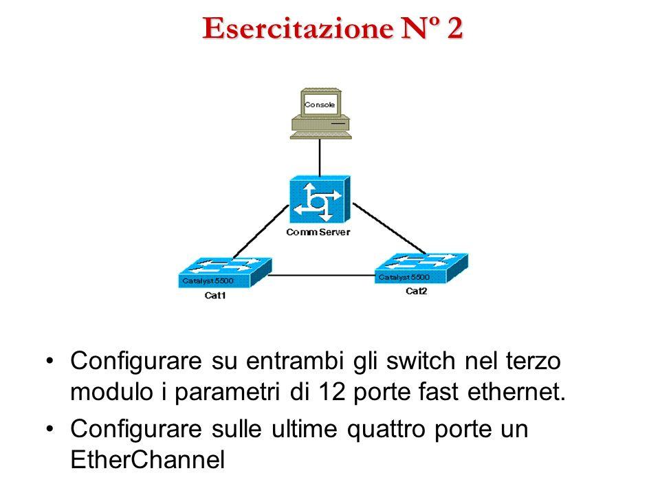 Esercitazione Nº 2 Configurare su entrambi gli switch nel terzo modulo i parametri di 12 porte fast ethernet. Configurare sulle ultime quattro porte u