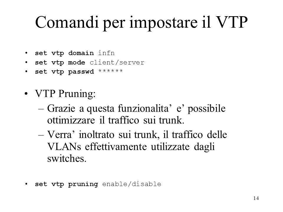 14 Comandi per impostare il VTP set vtp domain infn set vtp mode client/server set vtp passwd ****** VTP Pruning: –Grazie a questa funzionalita e possibile ottimizzare il traffico sui trunk.