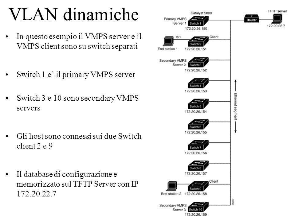 16 VLAN dinamiche In questo esempio il VMPS server e il VMPS client sono su switch separati Switch 1 e il primary VMPS server Switch 3 e 10 sono secon