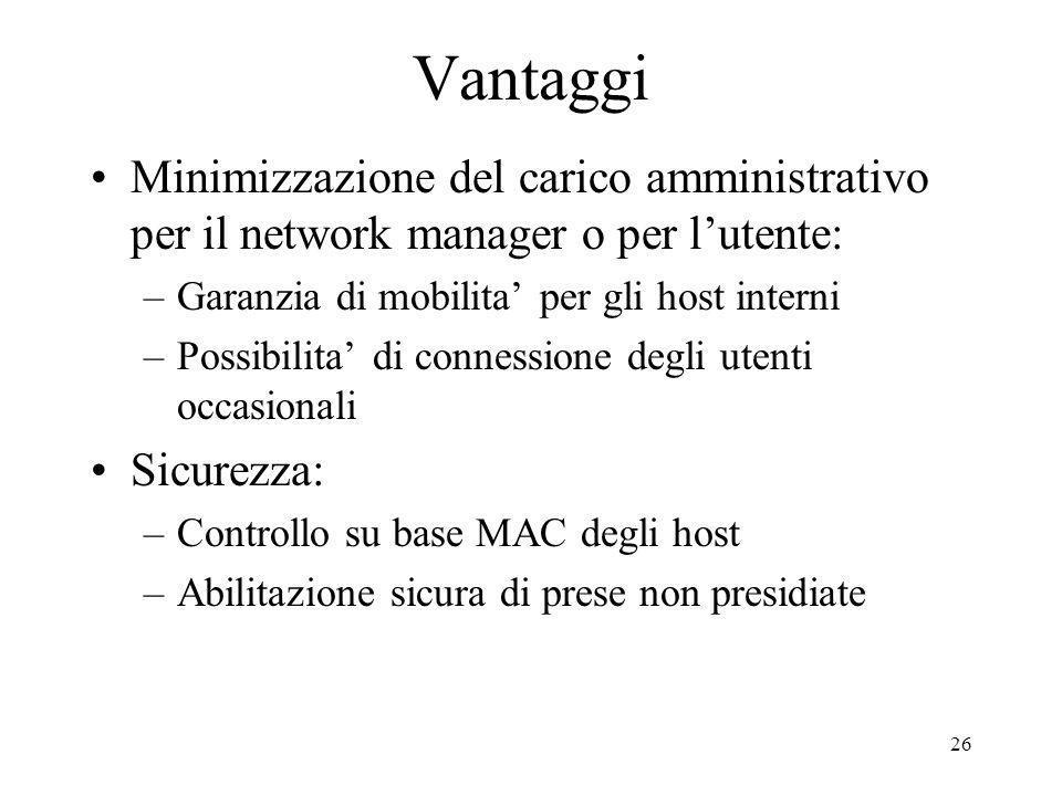 26 Vantaggi Minimizzazione del carico amministrativo per il network manager o per lutente: –Garanzia di mobilita per gli host interni –Possibilita di