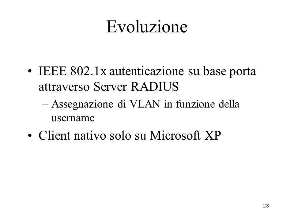 28 Evoluzione IEEE 802.1x autenticazione su base porta attraverso Server RADIUS –Assegnazione di VLAN in funzione della username Client nativo solo su