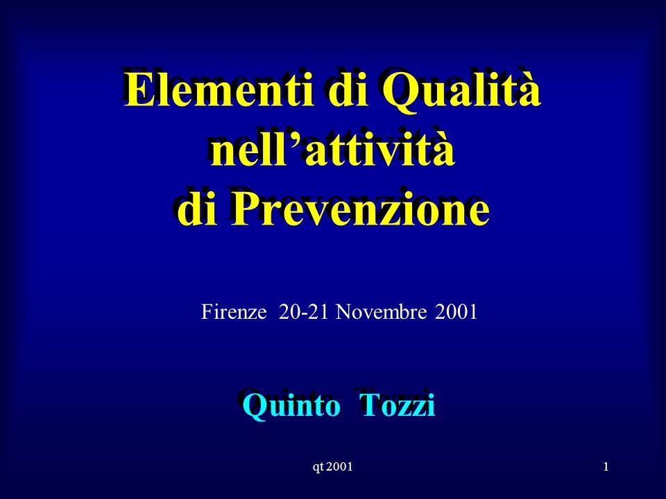 qt 20011 Elementi di Qualità nellattività di Prevenzione Quinto Tozzi Firenze 20-21 Novembre 2001