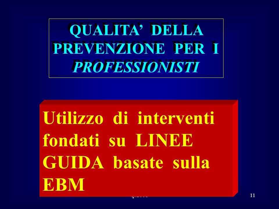 qt 200111 QUALITA DELLA PREVENZIONE PER I PROFESSIONISTI Utilizzo di interventi fondati su LINEE GUIDA basate sulla EBM