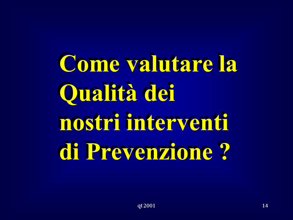 qt 200114 Come valutare la Qualità dei nostri interventi di Prevenzione