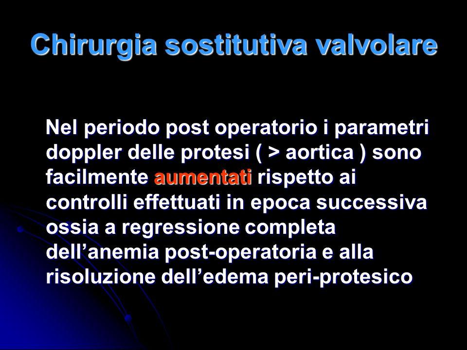 Chirurgia sostitutiva valvolare Nel periodo post operatorio i parametri doppler delle protesi ( > aortica ) sono facilmente aumentati rispetto ai cont