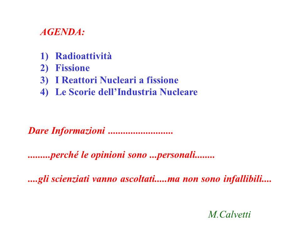 AGENDA: 1)Radioattività 2)Fissione 3)I Reattori Nucleari a fissione 4)Le Scorie dellIndustria Nucleare Dare Informazioni...................................perché le opinioni sono...personali............gli scienziati vanno ascoltati.....ma non sono infallibili....
