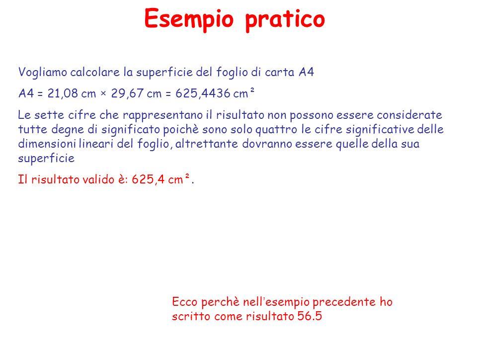 Esempio pratico Vogliamo calcolare la superficie del foglio di carta A4 A4 = 21,08 cm × 29,67 cm = 625,4436 cm² Le sette cifre che rappresentano il risultato non possono essere considerate tutte degne di significato poichè sono solo quattro le cifre significative delle dimensioni lineari del foglio, altrettante dovranno essere quelle della sua superficie Il risultato valido è: 625,4 cm².