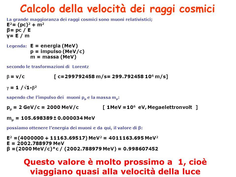 La grande maggioranza dei raggi cosmici sono muoni relativistici; E 2 = (pc) 2 + m 2 β= pc / E γ= E / m Legenda: E = energia (MeV) p = impulso (MeV/c) m = massa (MeV) secondo le trasformazioni di Lorentz = v/c[ c=299792458 m/s= 299.792458 10 6 m/s] = 1 /1- 2 sapendo che limpulso dei muoni p μ e la massa m μ : p μ = 2 GeV/c = 2000 MeV/c [ 1MeV =10 6 eV, Megaelettronvolt] m μ = 105.698389 ± 0.000034 MeV possiamo ottenere lenergia dei muoni e da qui, il valore di β: E 2 =(4000000 + 11163.69517) MeV 2 = 4011163.695 MeV 2 E = 2002.788979 MeV β =(2000 MeV/c)*c / (2002.788979 MeV) = 0.998607452 Questo valore è molto prossimo a 1, cioè viaggiano quasi alla velocità della luce Calcolo della velocità dei raggi cosmici
