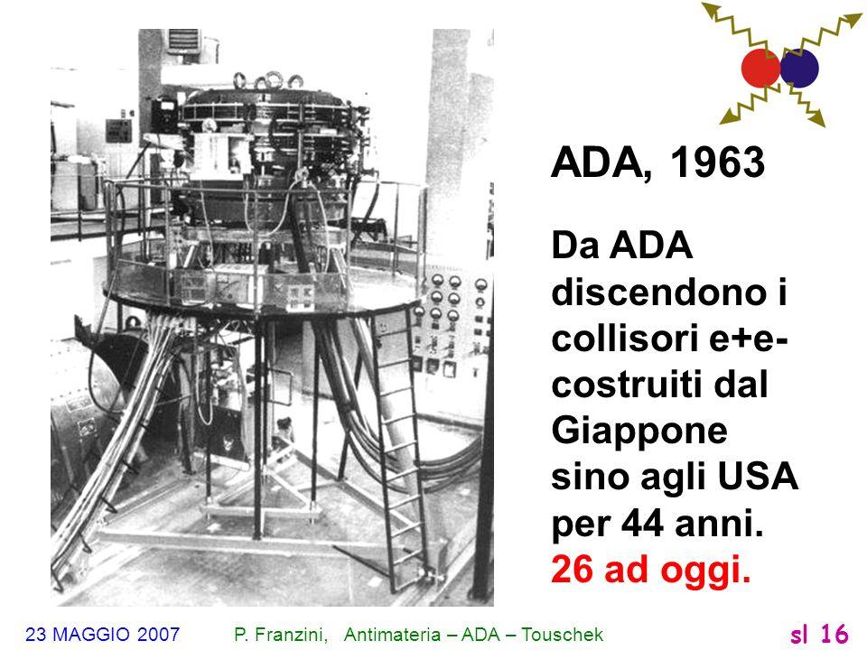 23 MAGGIO 2007 P. Franzini, Antimateria – ADA – Touschek sl 16 ADA, 1963 Da ADA discendono i collisori e+e- costruiti dal Giappone sino agli USA per 4