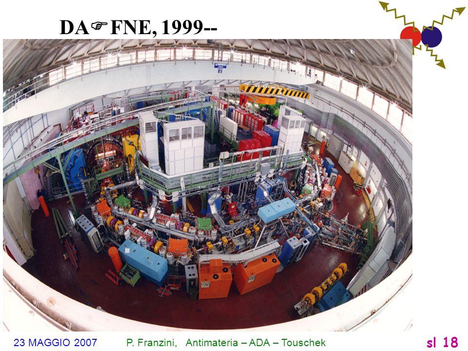 23 MAGGIO 2007 P. Franzini, Antimateria – ADA – Touschek sl 18 DA F FNE, 1999--