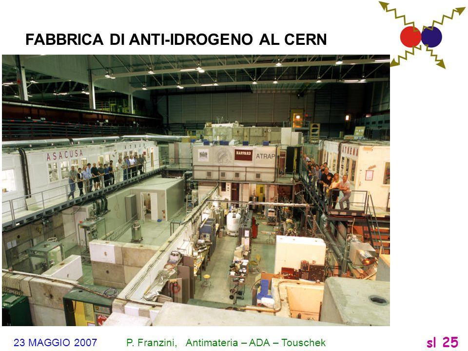 23 MAGGIO 2007 P. Franzini, Antimateria – ADA – Touschek sl 25 FABBRICA DI ANTI-IDROGENO AL CERN
