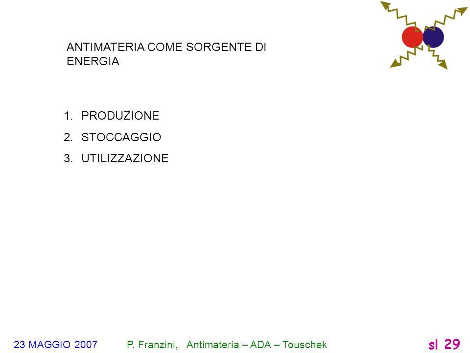 23 MAGGIO 2007 P. Franzini, Antimateria – ADA – Touschek sl 29 ANTIMATERIA COME SORGENTE DI ENERGIA 1.PRODUZIONE 2.STOCCAGGIO 3.UTILIZZAZIONE