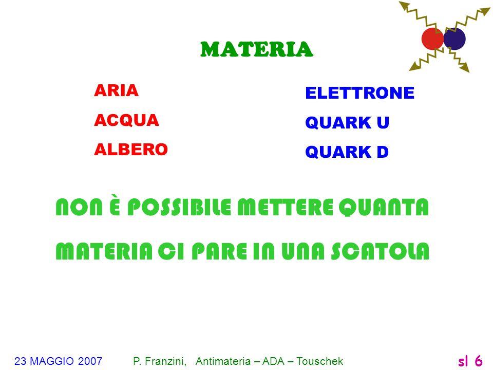23 MAGGIO 2007 P. Franzini, Antimateria – ADA – Touschek sl 6 MATERIA ELETTRONE QUARK U QUARK D ARIA ACQUA ALBERO NON È POSSIBILE METTERE QUANTA MATER