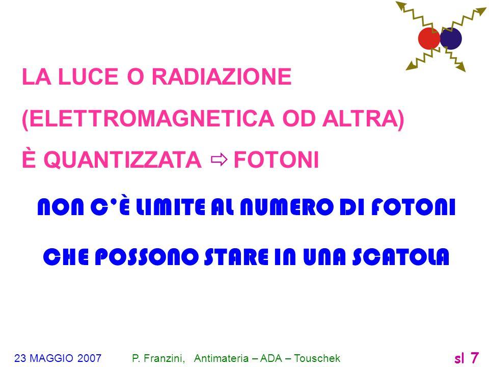 23 MAGGIO 2007 P. Franzini, Antimateria – ADA – Touschek sl 7 LA LUCE O RADIAZIONE (ELETTROMAGNETICA OD ALTRA) È QUANTIZZATA FOTONI NON CÈ LIMITE AL N