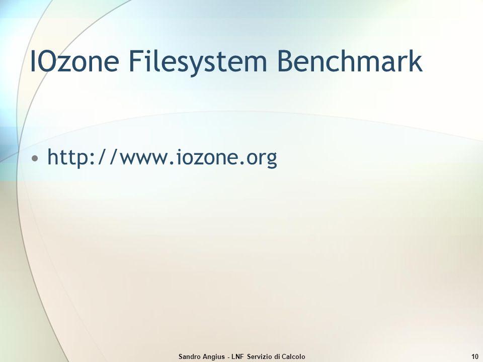 Sandro Angius - LNF Servizio di Calcolo10 IOzone Filesystem Benchmark http://www.iozone.org