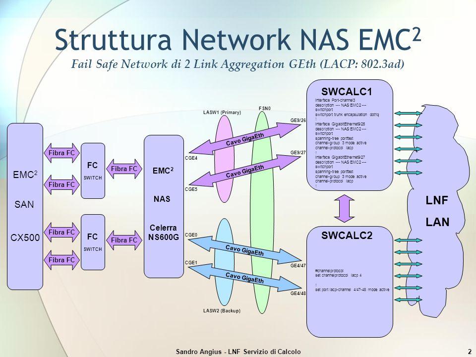 Sandro Angius - LNF Servizio di Calcolo2 Struttura Network NAS EMC 2 Fail Safe Network di 2 Link Aggregation GEth (LACP: 802.3ad) EMC 2 SAN CX500 EMC 2 NAS Celerra NS600G SWCALC1 interface Port-channel3 description --- NAS EMC2 --- switchport switchport trunk encapsulation dot1q .