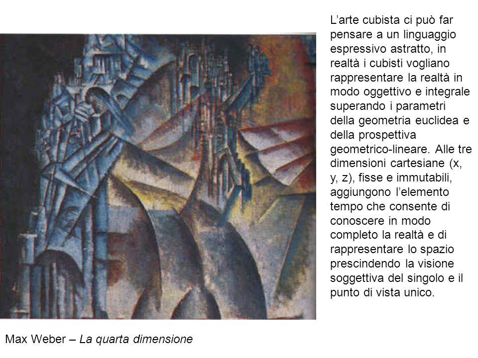 Max Weber – La quarta dimensione Larte cubista ci può far pensare a un linguaggio espressivo astratto, in realtà i cubisti vogliano rappresentare la r