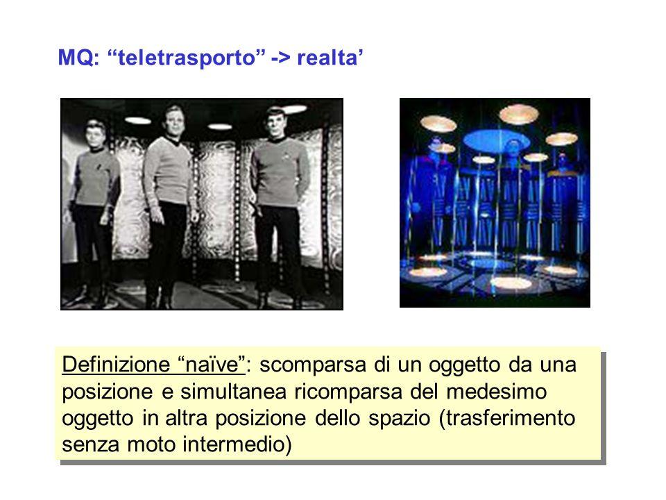MQ: teletrasporto -> realta Definizione naïve: scomparsa di un oggetto da una posizione e simultanea ricomparsa del medesimo oggetto in altra posizion