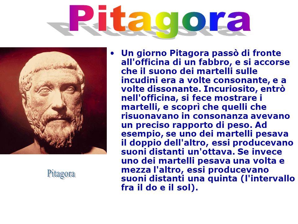 Un giorno Pitagora passò di fronte all'officina di un fabbro, e si accorse che il suono dei martelli sulle incudini era a volte consonante, e a volte