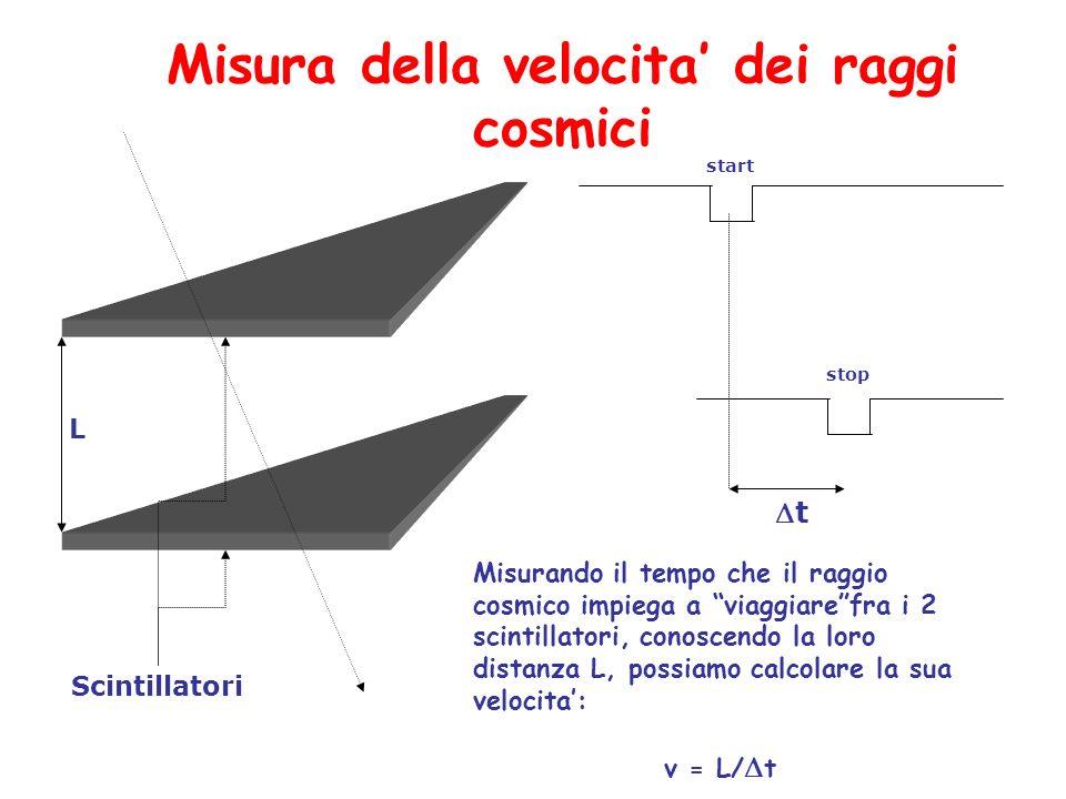 t Misurando il tempo che il raggio cosmico impiega a viaggiarefra i 2 scintillatori, conoscendo la loro distanza L, possiamo calcolare la sua velocita
