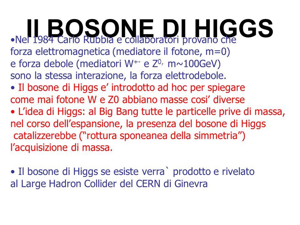 Il BOSONE DI HIGGS Nel 1984 Carlo Rubbia e collaboratori provano che forza elettromagnetica (mediatore il fotone, m=0) e forza debole (mediatori W +-