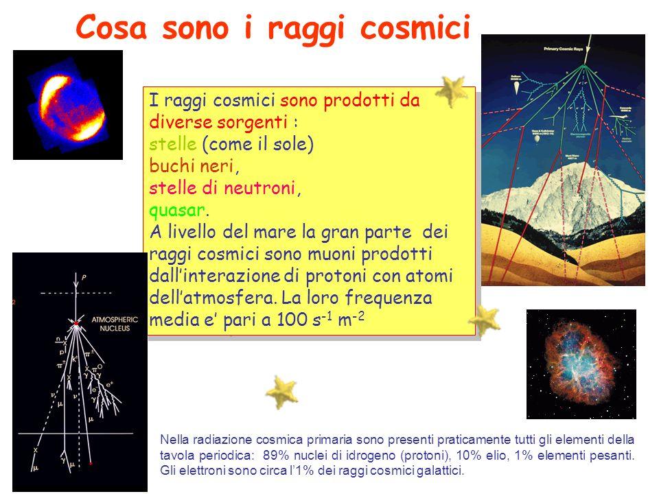 I raggi cosmici sono prodotti da diverse sorgenti : stelle (come il sole) buchi neri, stelle di neutroni, quasar. A livello del mare la gran parte dei