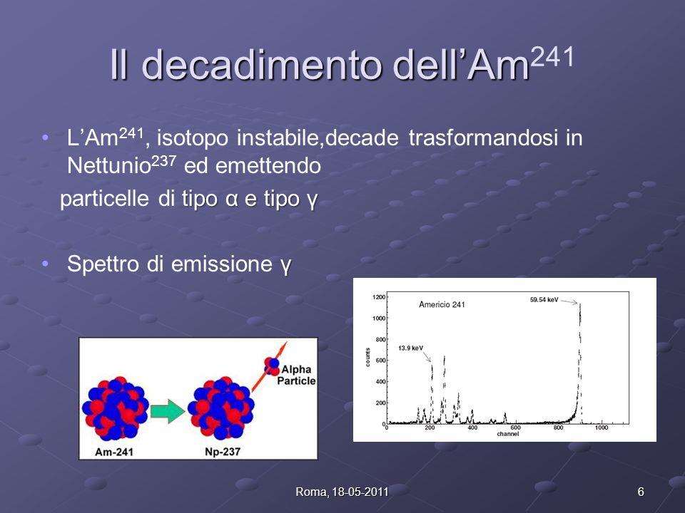 Il decadimento dellAm Il decadimento dellAm 241 LAm 241, isotopo instabile,decade trasformandosi in Nettunio 237 ed emettendo tipo α e tipo γ particelle di tipo α e tipo γ γSpettro di emissione γ 6Roma, 18-05-2011