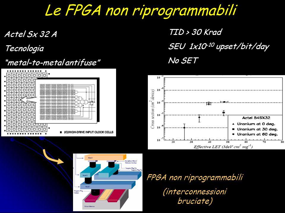 Le FPGA non riprogrammabili Actel Sx 32 A Tecnologia metal-to-metal antifuse FPGA non riprogrammabili (interconnessioni bruciate) TID > 30 Krad SEU 1x10 -10 upset/bit/day No SET