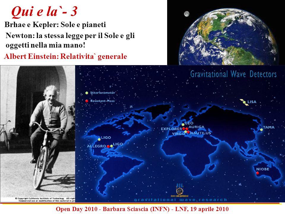 Open Day 2010 - Barbara Sciascia (INFN) - LNF, 19 aprile 2010 Newton: la stessa legge per il Sole e gli oggetti nella mia mano! Qui e la`- 3 Brhae e K