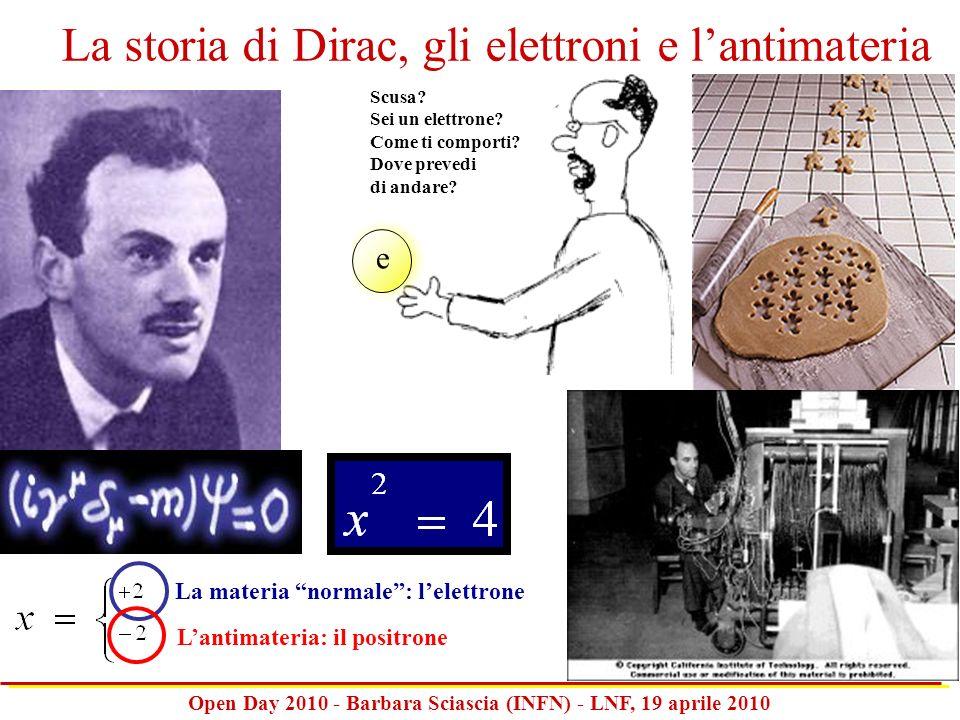 Open Day 2010 - Barbara Sciascia (INFN) - LNF, 19 aprile 2010 La materia normale: lelettrone Lantimateria: il positrone Scusa? Sei un elettrone? Come