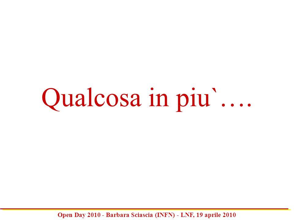 Open Day 2010 - Barbara Sciascia (INFN) - LNF, 19 aprile 2010 Qualcosa in piu`….