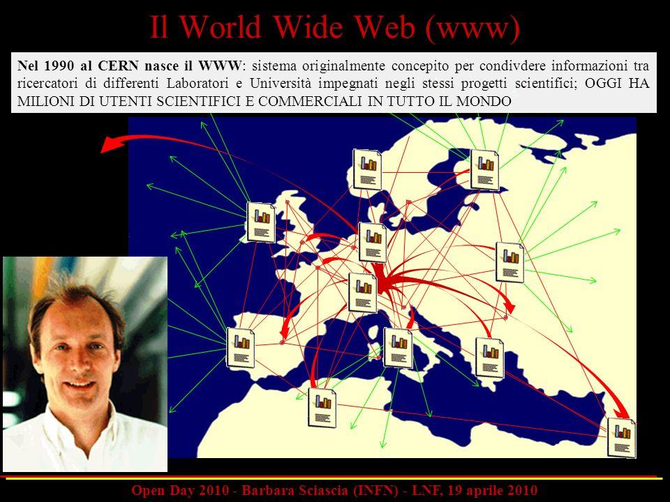 Open Day 2010 - Barbara Sciascia (INFN) - LNF, 19 aprile 2010 Nel 1990 al CERN nasce il WWW: sistema originalmente concepito per condivdere informazio