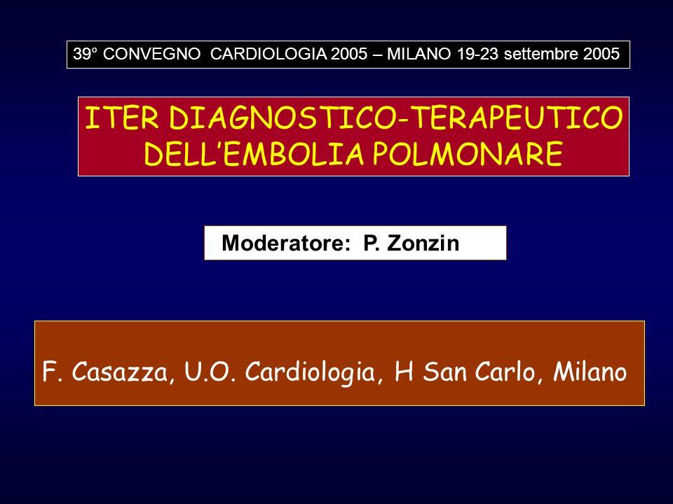 F. Casazza, U.O. Cardiologia, H San Carlo, Milano ITER DIAGNOSTICO-TERAPEUTICO DELLEMBOLIA POLMONARE 39° CONVEGNO CARDIOLOGIA 2005 – MILANO 19-23 sett