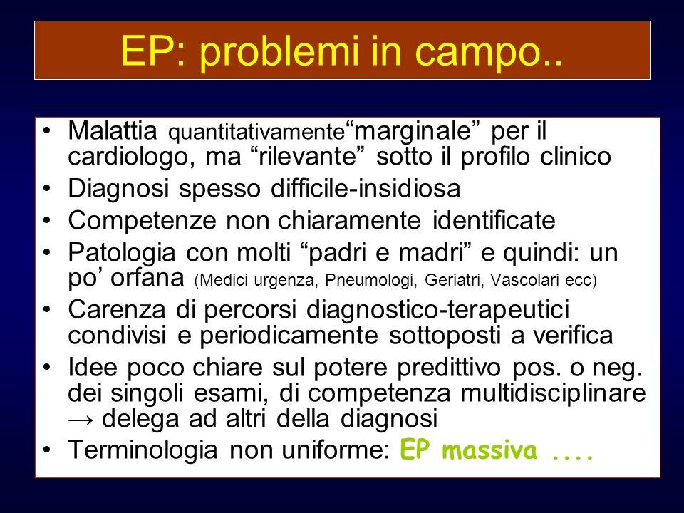EP: problemi in campo.. Malattia quantitativamente marginale per il cardiologo, ma rilevante sotto il profilo clinico Diagnosi spesso difficile-insidi
