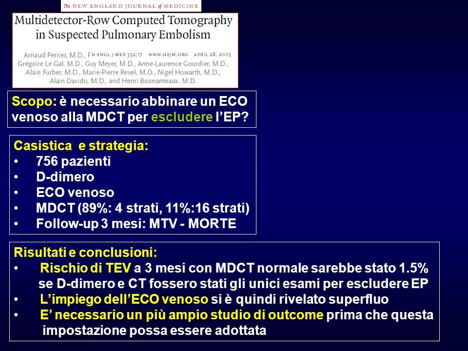 Casistica e strategia: 756 pazienti D-dimero ECO venoso MDCT (89%: 4 strati, 11%:16 strati) Follow-up 3 mesi: MTV - MORTE Risultati e conclusioni: Ris