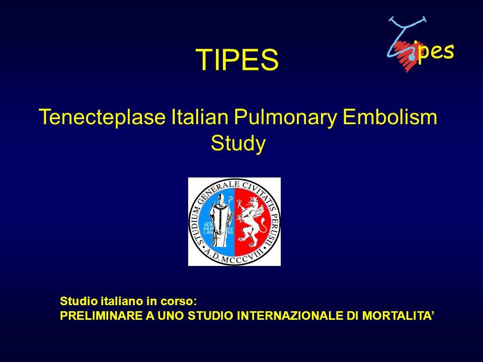 TIPES Tenecteplase Italian Pulmonary Embolism Study Studio italiano in corso: PRELIMINARE A UNO STUDIO INTERNAZIONALE DI MORTALITA